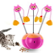 Funny Cat Toys 3 In 1 Multi Function Automatic Spinning Cat Toy Ball Tumbler with Chaser Light And Food Dispenser #281624