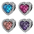 Gift Valentine's Day 925 Sterling Silver Heart Beads Charms Fit Bracelets Women Fashion Accessories