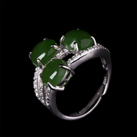 L B 925 Sterling Silver Opening Ring Natural Green Chalcedony Anillos S925 Sterling Silver Rings For