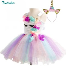 Flower Girls Unicorn Tutu Dress Pastel Rainbow Princess Girls Birthday Party Dress Children Kids Cosplay Unicorn Costume 2-10Y 3 10year flower girls fancy nancy tutu dress pastel rainbow princess girls birthday party dress children kids halloween costume