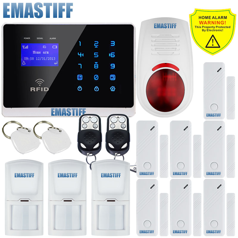 DHL Free Shipping!latest Wireless Wired GSM SMS Touch Keypad Menu screen Alarm System RFID Outdoor Flash Siren IOS/Android App dhl free shipping family guard android ios app m2e wireless gsm sms text home security alarm system 4 bands touch screen