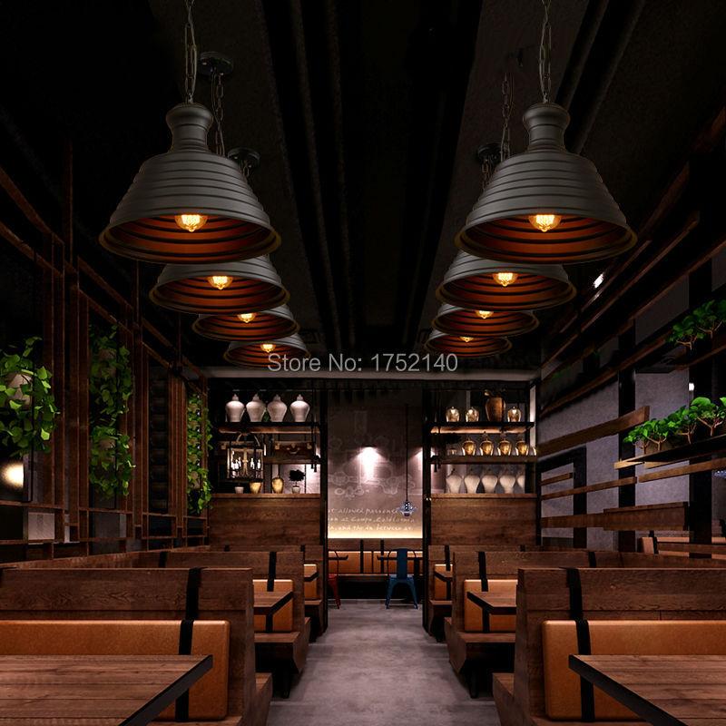 Lámpara colgante de hierro forjado retro de la industria del estilo del desván lámpara creativa de la tapa colgante de la luz de la barra del café iluminación de la ingeniería art decó - 4
