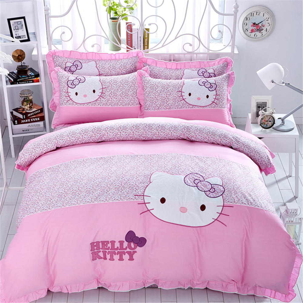 Pink hello kitty bedsheet - Girls Pink Hello Kitty Cotton Bedding Sets Bedclothes Quilt Duvet Covers Bed Sheets Bedspreads 3