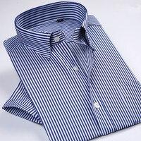 Classic Men's Short Sleeve shirt Casual Fashion Slim Business Travel High Quality Men's Shirts plus size Formal Career Social