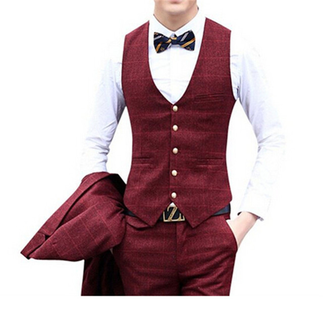 Men\'s suits red color suit for the wedding the groom\'s best man 3 ...