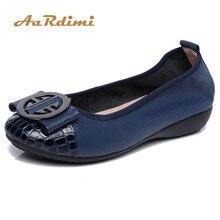 Купить с кэшбэком AARDIMI 2019 Spring Women Loafers Genuine Leather Women Ballet Flats Shoes Casual Slip-On Soft Boat Shoes Women Espadrilles