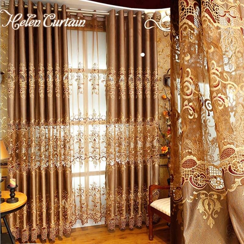 Helen Vorhang Gold Luxus Europischen Stil Hohlen Bestickten Fr Wohnzimmer Tll Gardinen Elegante Vorhnge