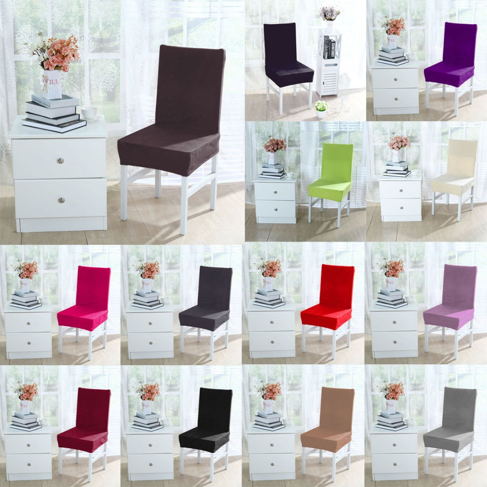 Stretch Plush Washable Short Dining Room Chair Cover Protector Seat Slipcover