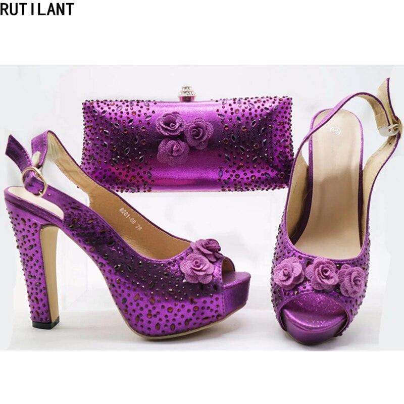 Femmes Ensemble Et Italiennes Conception purple Assortis Avec Italien Sky Sacs Chaussures rose Décoré Sac Dernière Les Chaussure yellow Strass Blue 2018 Pompes zapx7ndEqw