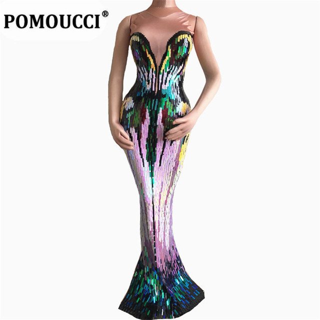 Women New Colorful Sequins Long Dress Evening Party Wear Luxurious Stretch Dress Prom Birthday Celebrate Female Singer Dresses