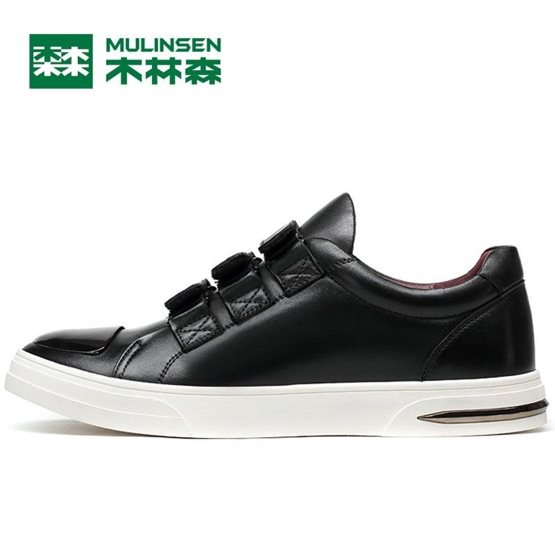 Prix pour Mulinsen hommes planche à roulettes de sport chaussures noir/bleu en cuir porter non-slip en plein air sport chaussures traning sneakers 260081