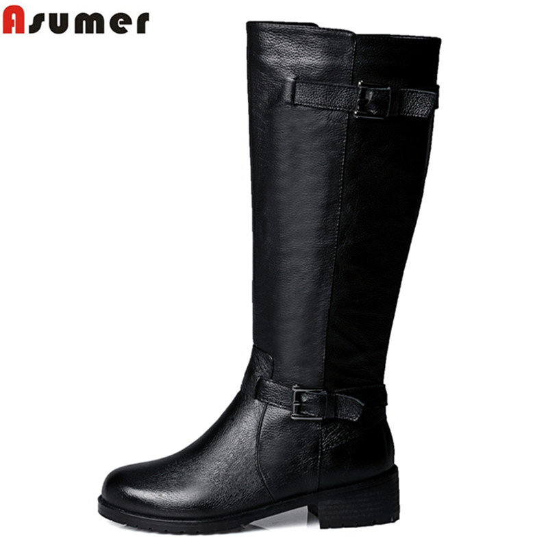 ФОТО Plus size 34-43 new soft genuine leather +pu knee high boots women buckle decoration winter thigh women motorcycle boots
