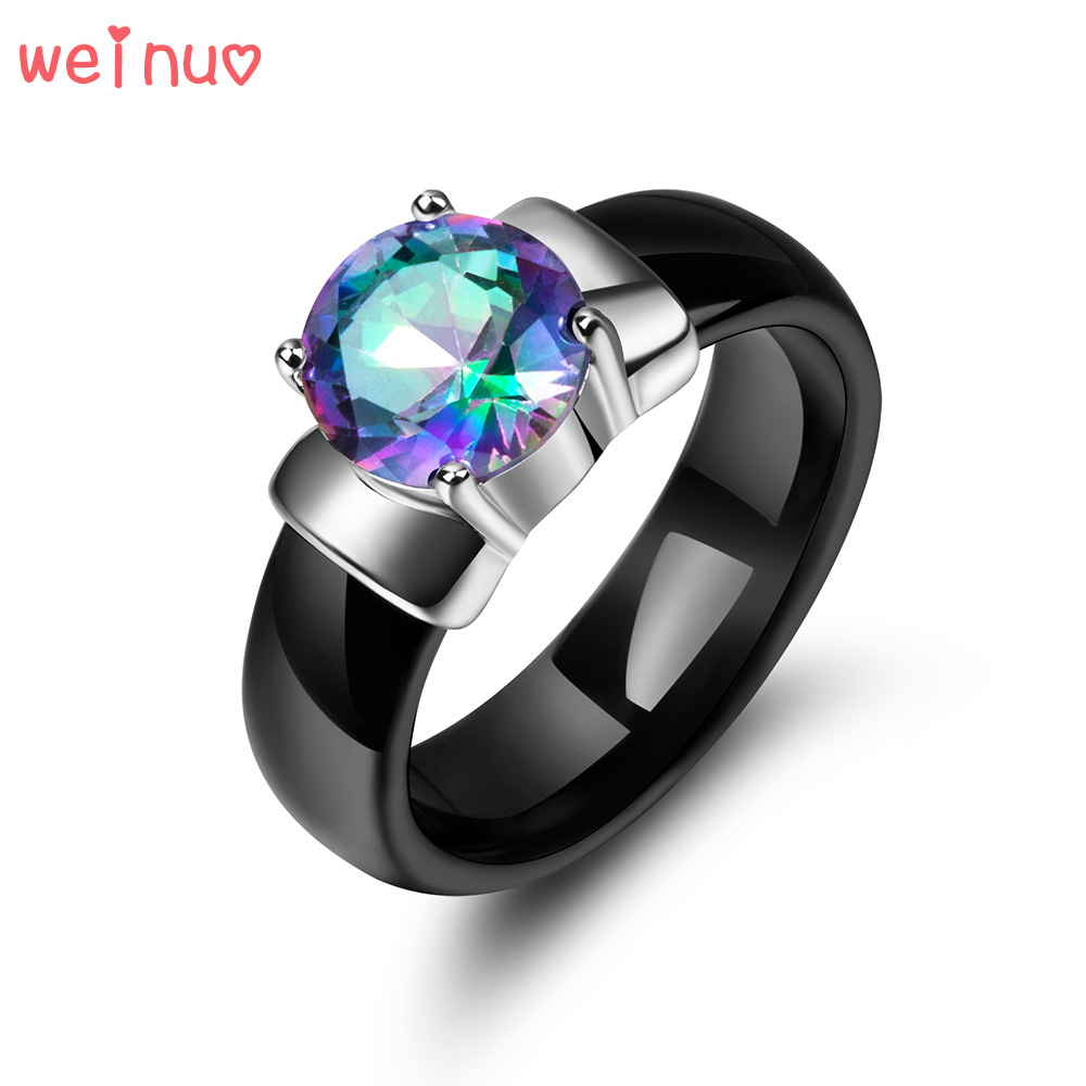 Weinuo Rainbow Fire Mystic Crystal Zircon Ring Solid 925 Sterling Silver Jewelry Best Gift For Women Black Ceramic Wedding Ring