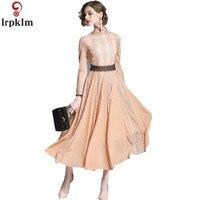 2018 Spring New Ladies Dress Brand High End Women's Self Cultivation Lce Dress Chiffon Stitching Large Pendants Pink Dress NZ010