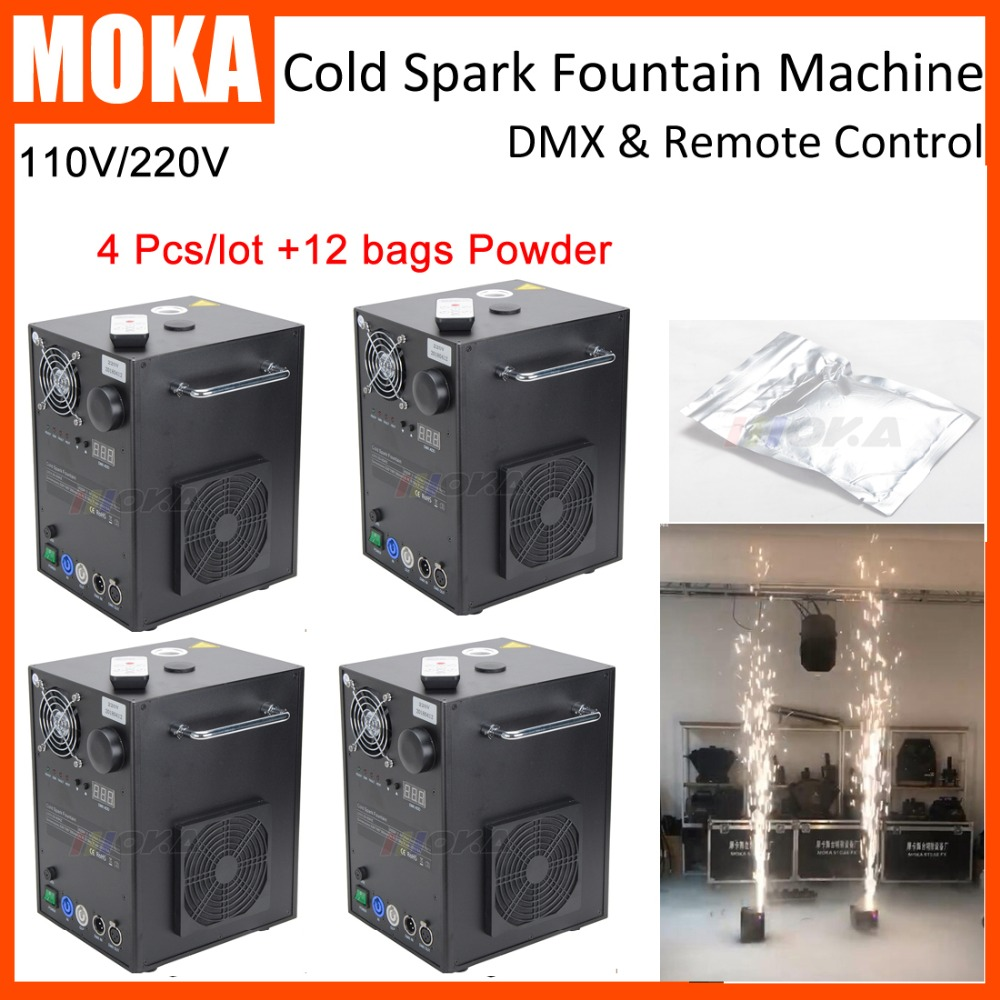 4 Pcs/lot stage cold spark machine with 12 bags powder Wedding Machine Wireless DMX Electric Cold Spark Fireworks spray 2-5m