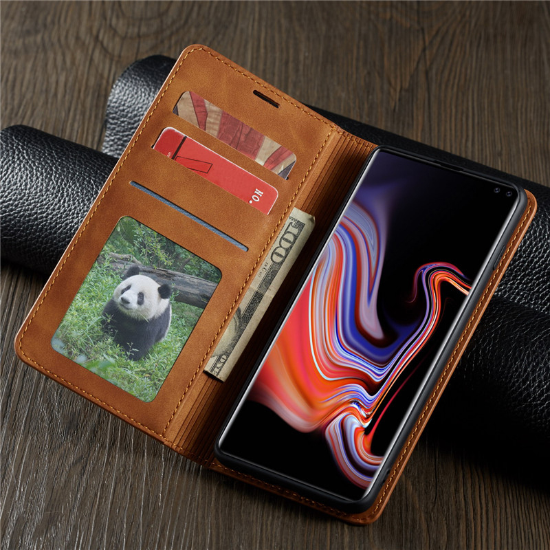 Leather Flip A51 A71 A81 A91 A50 A70 S A40 A20 A10 Case For Samsung S9 S8 S7 Magnet Cover 2