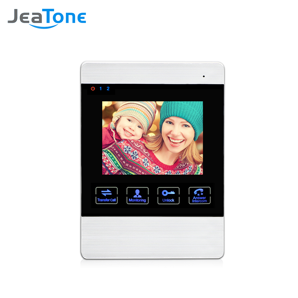 JeaTone 4 inch Wired Video Door Phone Doorbell Intercom System Indoor Monitor(support the Connection for the Outdoor Camera) jeatone 7 inch video door phone doorbell intercom with 600tvl outdoor camera ip65 on door video intercom security system 4 wired