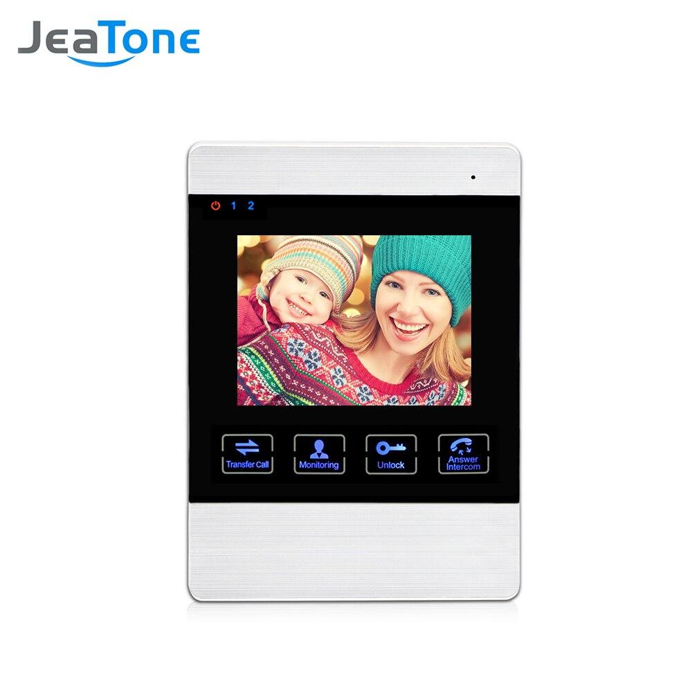 JeaTone 4 pollice Ha Fissato il Video Telefono Del Portello Del Campanello Citofono Sistema di Monitor Dell'interno (sostenere il Collegamento per la Macchina Fotografica Esterna)