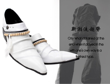 White Black cowhide leather high quality brogue shoes pointed slip on men wedding oxfords plus size EU46