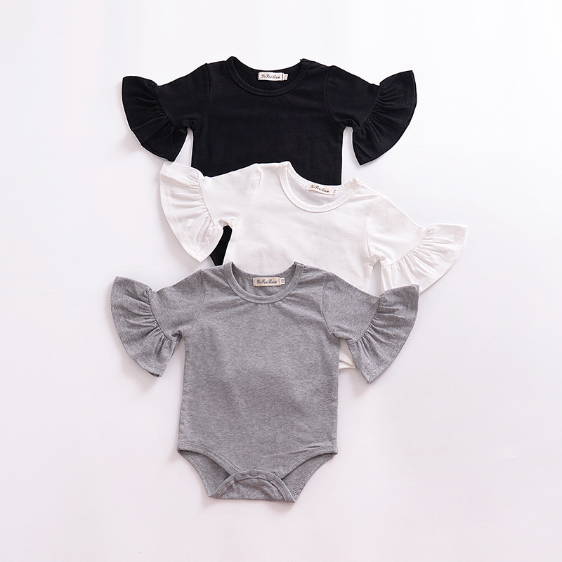 Baby Girl Bodysuits 0-2T Children's Body For  Baby Clothes Flared Short Sleeve Single Breasted Solid Color White Black Grey