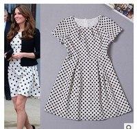 Bawełna polka dot sukienka elegancki czarno-biały china export top quality party prom najnowsze suknia projektu 2015 Kate Middleton sukienka