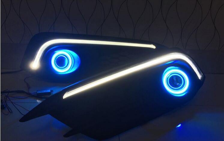 eOsuns инновационные cob Ангел глаз + светодиод дневного света DRL + галоген. противотуманная фара с объективом проектора для Хонда Цивик 10-м 2016