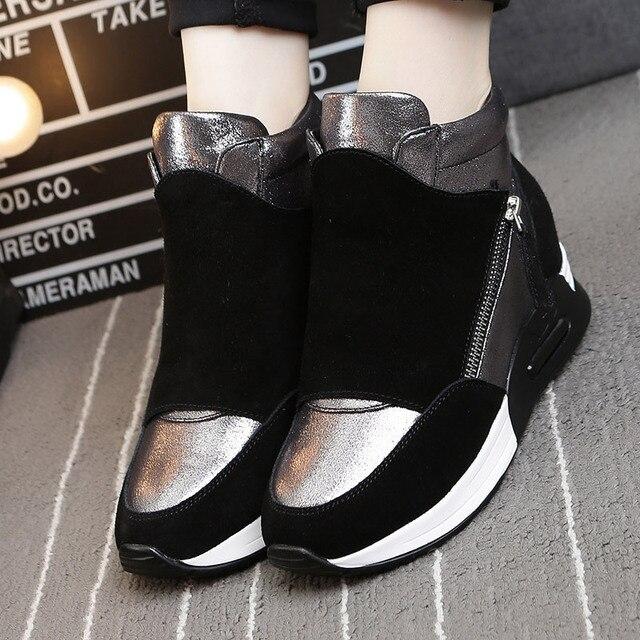 Зимние Кожаные Ботинки Высота Увеличение Повседневная Обувь Люксовый Бренд шнуровке Zapatos De Mujeres Коровы Sapatos Chaussure Femme
