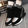 Invierno Zapatos Altura Creciente Zapatos Casuales de Cuero de Lujo de la Marca con cordones Zapatos De Mujeres Partido De La Vaca Sapatos Chaussure Femme