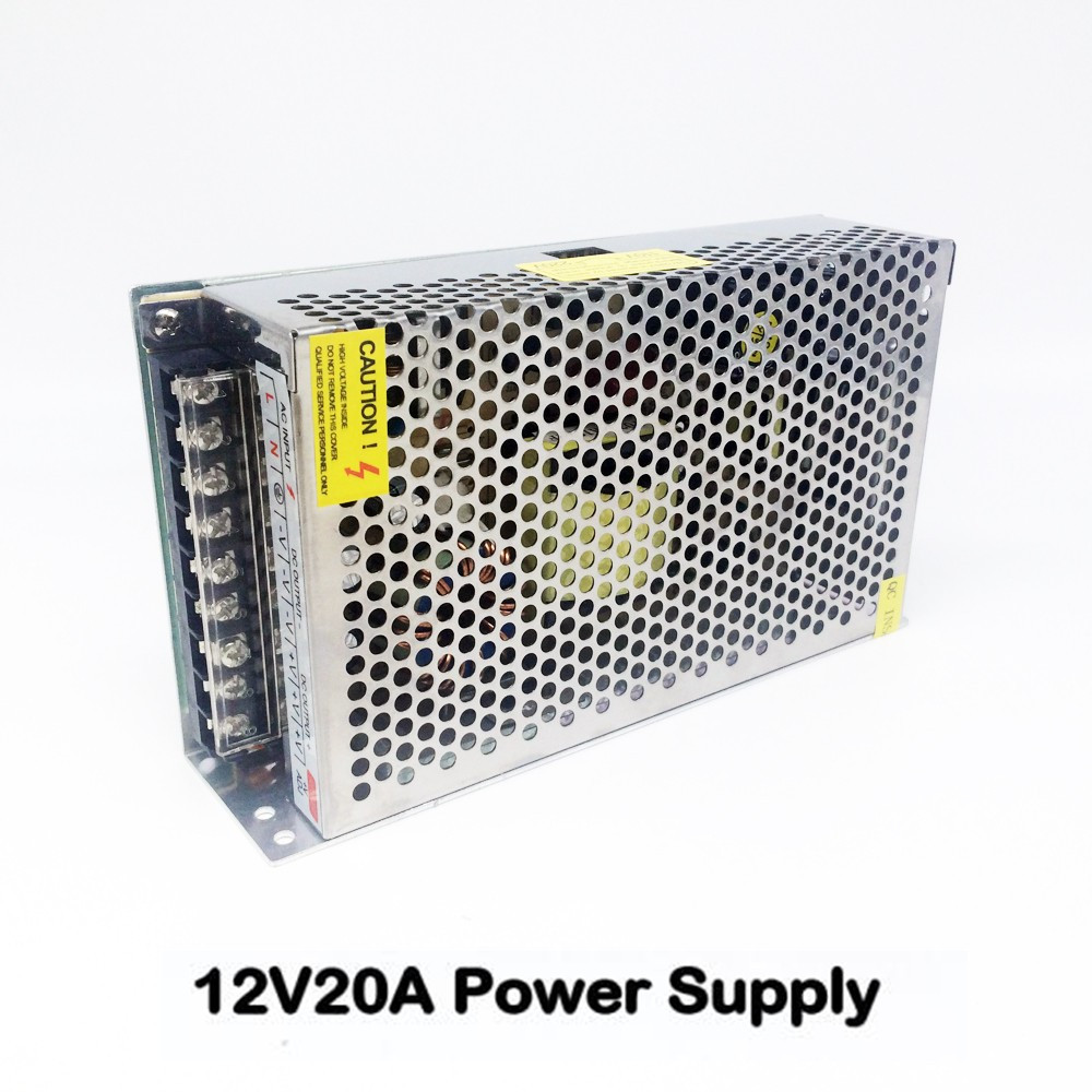 Best Quality 12V 20A 240W Switching Power Supply Driver for LED Strip AC 110-240V Input to DC 12V free shipping best quality double sortie 5v 12v 200w switching power supply driver for led strip ac 100 240v input to dc 5v 12v free shipping