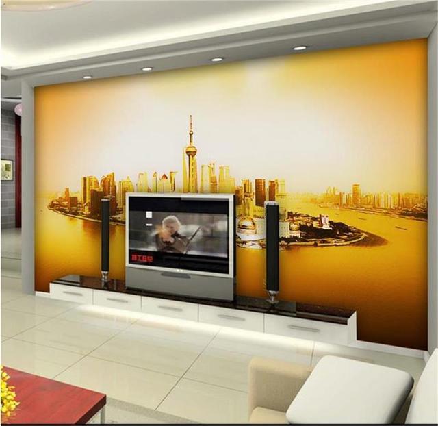 Personnalise 3d Photo Papier Peint Salon Mural Shanghai Oriental