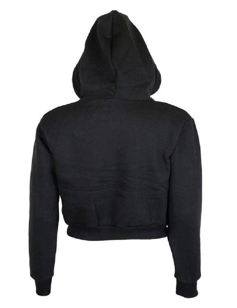 Fashion Women Sweatshirt 19 Hot Sale Hoodies Solid Crop Hoodie Long Sleeve Jumper Hooded Pullover Coat Casual Sweatshirt Top 5