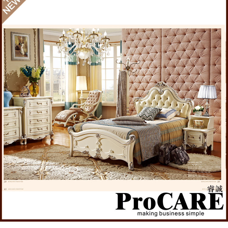 2016 New Arrival New 5 Pieces European Style Bedroom Furniture Sets Included Bed + Cabinet Nightstand Dresser Dressing Stool