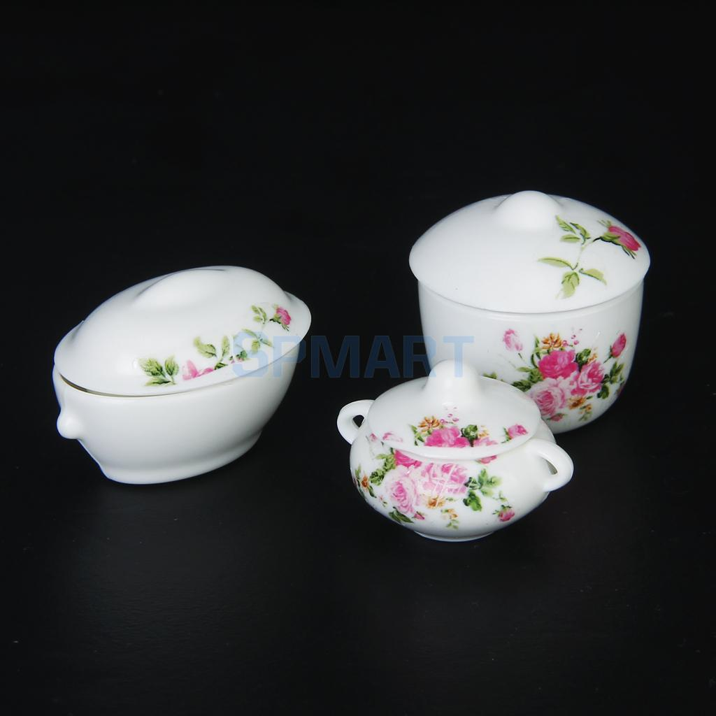 3pcs Doll House Kitchen Miniature Casserole Pot Bowl Lid with Floral Pattern