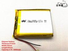 2 ชิ้น/ล็อต 3.7 V, 5000 mAH, [955465] PLIB; แบตเตอรี่ polymer lithium ion/Li   Ion แบตเตอรี่สำหรับแท็บเล็ต pc, power bank, E BOOK;