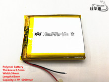 2 pz/lotto 3.7 V, 5000 mAH, [955465] PLIB; batteria ai polimeri di batteria agli ioni di litio/batteria Li Ion per tablet pc, banca di potere, E del LIBRO;