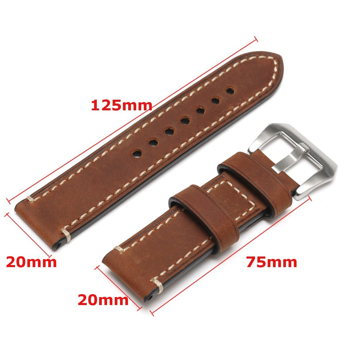 20mm Leather Watchband Men Women Replacement Leather Watch Strap Wristwatch Belt With Steel Pin Buckle For/Panerai Accessories men s genuine leather watch strap for panerai calfskin leather watchstrap for pam111 male watchband montre pulseras masculino