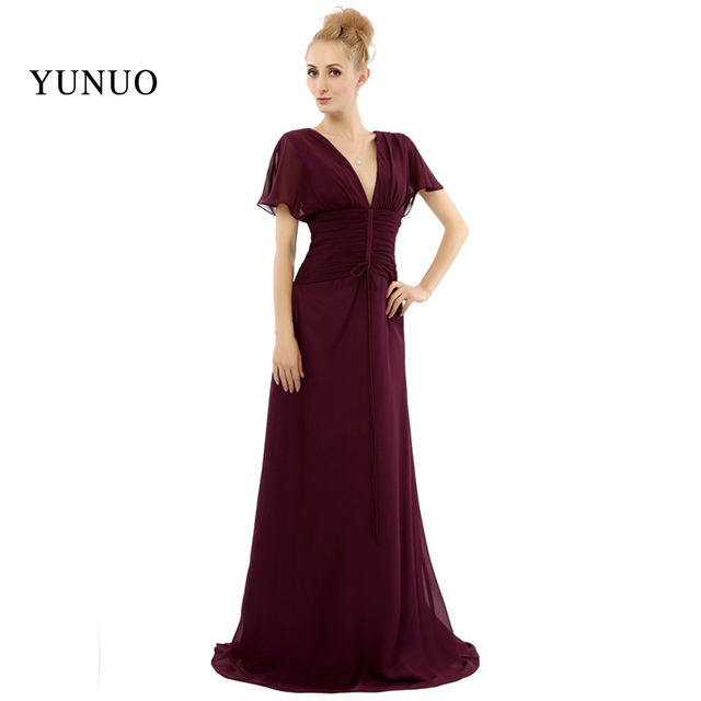 Vestidos V Neck Women Mothers Dresses Y Gowns A Line Chiffion Short Sleeves Mother