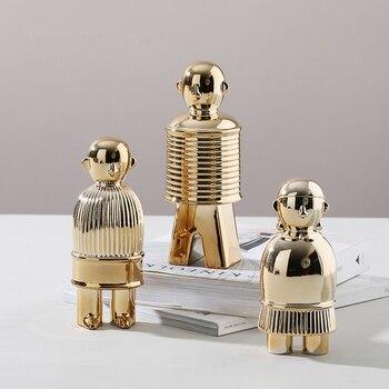 Abstract Gold Plating Robot Doll Ceramic Statue Creativity Handmade Sculpture Home Decoration Desktop Display Crafts Figurine