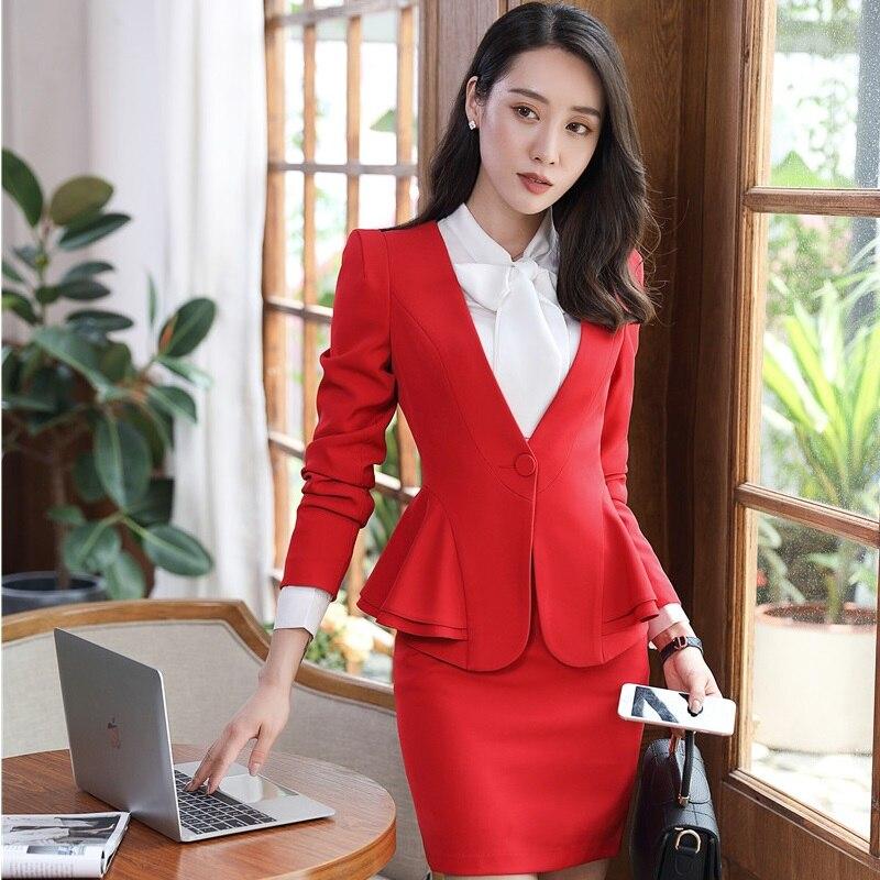 beige Pour Grande Et Taille black Porter Femmes Blazers Styles Tenues Nouvelle Jupe Avec Bureau Uniformes Red Costumes Professionnel wU8R0Wat8