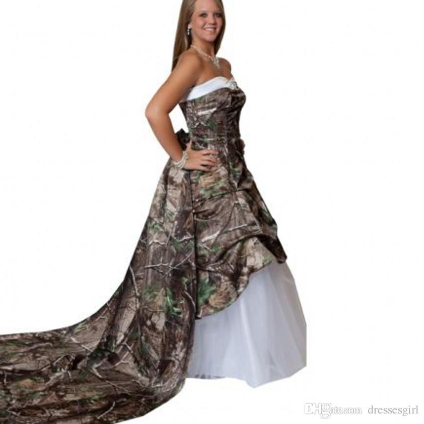 sweetheart white 2016 new camo wedding dresses a line floor length court train lace up back