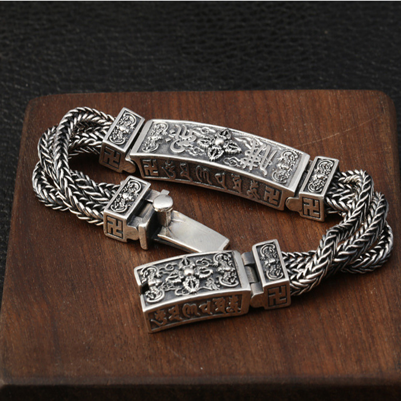 NEW! S925 Sterling Silver Tibetan Mantra Bracelets For Men Braided Woven Six Words Vajry Pestle Engraved Prayer Buddha Jewelry