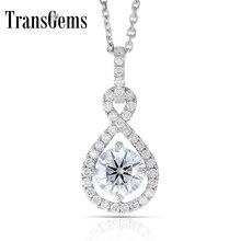 Transgems 14 K לבן זהב 585 6.5 MM 1 קרט F צבע לבבות וחצים Moissanite Halo תליון שרשרת עבור נשים חתונה
