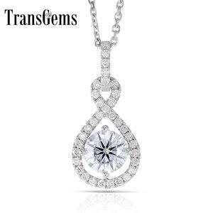 Image 1 - Transgems 14 k ouro branco 585 6.5mm 1 quilates f cor corações e setas moissanite halo pingente colar para casamento feminino