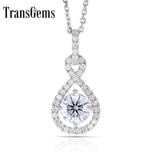 Transgems 14K White Gold 585 6.5MM 1 Carat F Color Hearts and Arrows Moissanite Halo Pendant Necklace for Women Wedding
