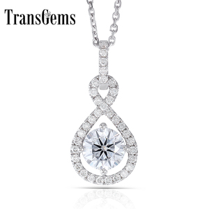 Image 1 - Transgems 14K White Gold 585 6.5MM 1 Carat F Color Hearts and Arrows Moissanite Halo Pendant Necklace for Women Wedding