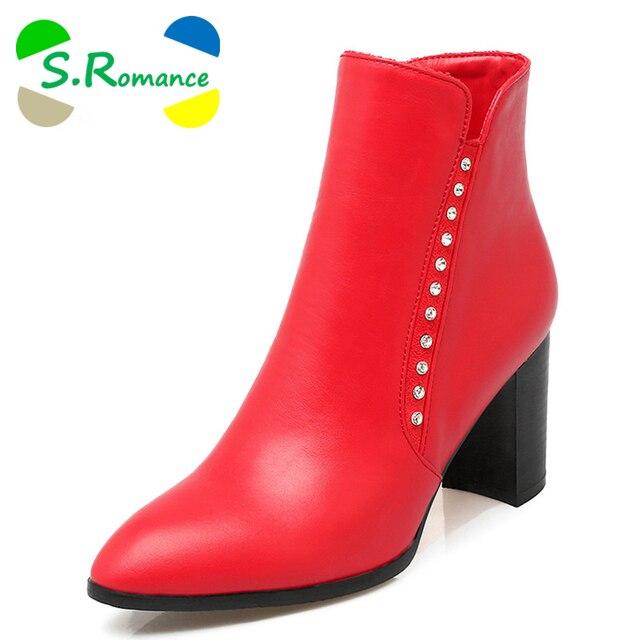 S.Romance/Женские Ботильоны Плюс Размеры 34–43 средней высоты квадратный каблук молния круглый носок классический Модная женская обувь Черные, белые, красные sb247