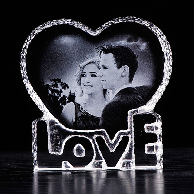 Personalized Photo Laser Engraved Photo Frame Romantic Love Heart Wedding Photo Album Souvenir Home Decoration Accessories Gift
