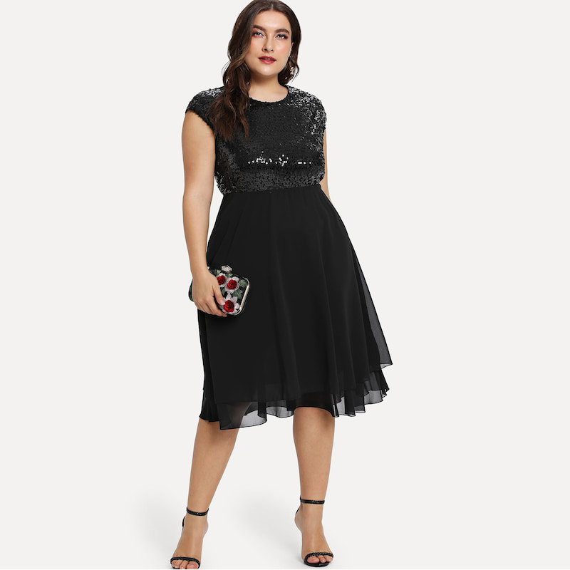 Dresses ฤดูใบไม้ร่วง เซ็กซี่สตรี ขนาดสีดำสูงเอว 5