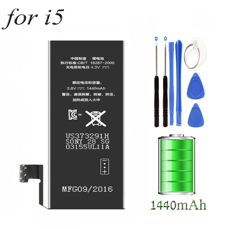 Great quality 3.8V 1440 MAh Internal Built-in Li-ion Replacement Mobile Phone Battery for Apple Iphone 5 iphone5 4.0 inch