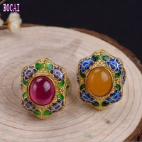 S925 silver plated gold female models burnt blue peony chalcedony woman's ring